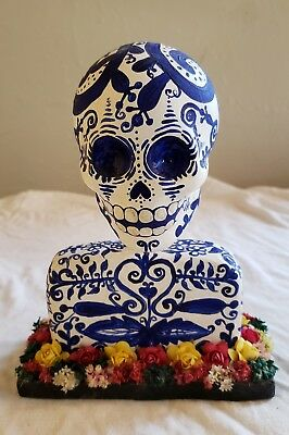 Mexican Day of the Dead Skeleton Bust - signed by artist