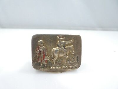 Western Or Mexican Themed Sterling Silver  Pill Box