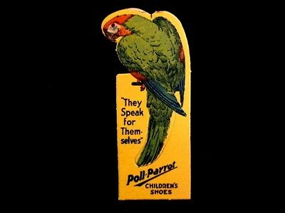 POLL-PARROT Childrens Shoes Victorian Trade Card Bookmarker