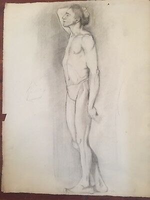 ORIGINAL Charcoal nude Drawing Dated 1912