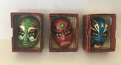 Lot 3 1950's Chinese Facial Make up Hand Painted Opera Pottery Masks W/ Boxes C1