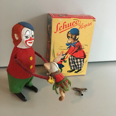Schuco Wind-Up Clown Hopsa With Original Box And Key. Fully Operational! Sweet!!