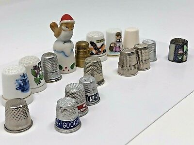 Lot of 17 Vintage Sewing Thimbles Mixed Metal Hand Painted Porcelain Ceramic