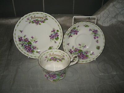 """Royal Albert Flower of the Month Series Trio """"Violets"""" February-Factory Second A"""