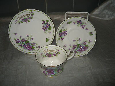 Royal Albert Flower of the Month Series Trio Violets February Factory Seconds B