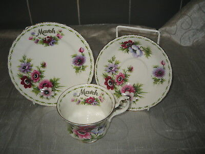 """Royal Albert Flower of the Month Series Trio """"Anemones March"""" - [Factory Second]"""