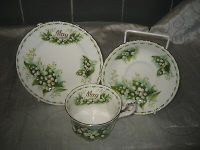 Royal Albert Flower of the Month Series Trio L of the Valley May Factory Seconds