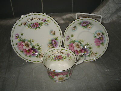 """Royal Albert Flower of the Month Series Trio """"Cosmos"""" October [Factory Seconds]"""