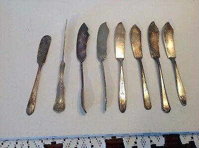 Lot of 8 Vintage Silverplate Butter Knives Different Patterns