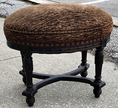 "Antique 1920 Arts & Crafts Period 23"" Floral Carved Wood Footstool Stool Ottoman"