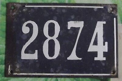 Large old black French house number 2874 door gate wall plate enamel metal sign