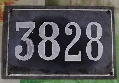 Large old black French house number 3828 door gate wall plate enamel metal sign