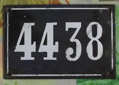 Large old black French house number 4438 door gate wall plate enamel metal sign