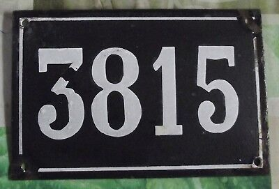 Large old black French house number 3815 door gate wall plate enamel metal sign