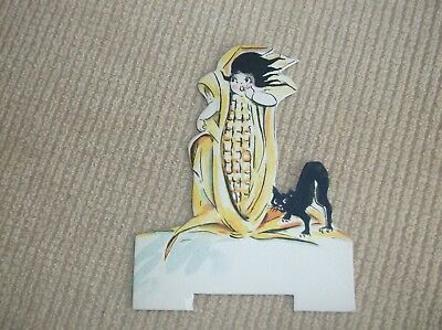 vintage Halloween die cut place holder, Dennison, cute corn-girl w/ black cat