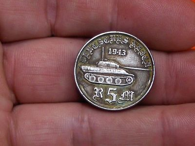 1943 - 5 Reichsmark German Fuhrer Panther Army Tank Wwii Collectible Coin