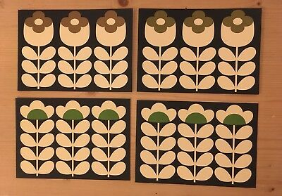 4 X Orla Kiely Flower Stem Notecards With Envelopes Brown & Green