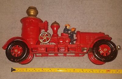 Antique Vintage Cast Iron Fire Truck Toy Water Pumper With Driver Red Large 13""