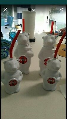 Collectible Coca Cola Polar Bear Plastic Water Bottle with Red Straw Vintage 4