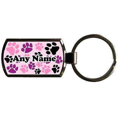 Personalised Animal Paw Print Oblong Shaped Metal Keyring With Printable Insert