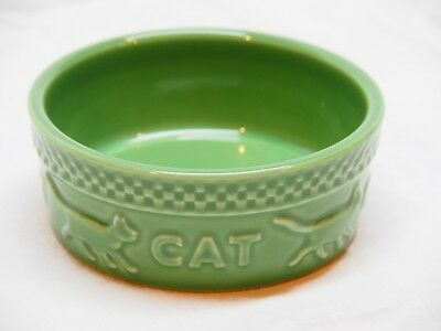 Longaberger Mulligan Small Pottery Cat Bowl Dish Green EUC
