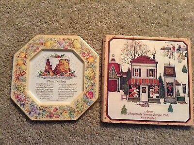 Avon Christmas 1982 Hospitality Sweets Recipe Plate with case ((Plum Pudding)