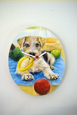 Puppy With Toys Oval Wall Clock CP9