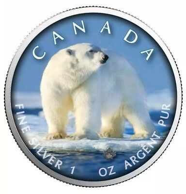 2019 $5 Canadian POLAR BEAR MAPLE LEAF 1 Oz Silver Coin.