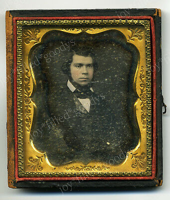 LATE 1850s INTERESTING BEARDED YOUNG MAN DAGUERREOTYPE