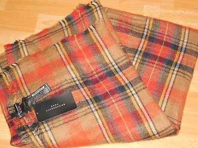 e011680e3d18 Zara Echarpe Carreaux Tartan Orange Scarf Checked Soft Poncho Plaid Shawl  Sold