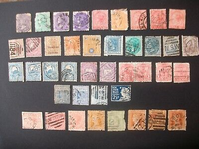 New South Wales + Victoria + Sth Australia. Used and hinged. some duplicates