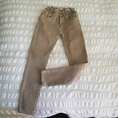 Zara Boys Skinny Fit jeans VGUC washed camel beige stretch denim. size 8 / 128cm