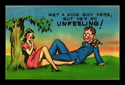 Dr Jim Stamps Us Nice Guy Here Unfeeling Linen Comic Topical Postcard
