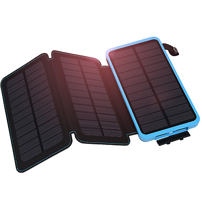 Hiluckey Solar Charger, Power Bank 10000mAh with 3 Panels Waterproof Folding...