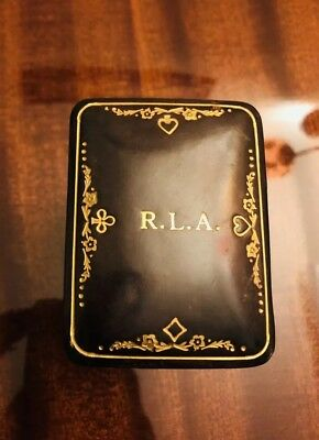 Vintage Playing Cards Genuine Leather Case Box Made in Italy