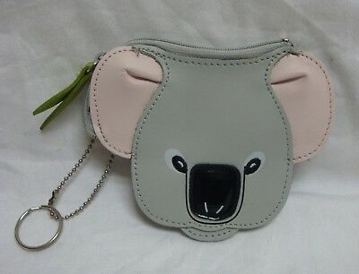 Rolf's Leather Koala Face Coin Change Purse Wallet Key Chain