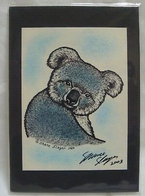 Shane Slayer Hand Signed & Colored Koala Print 1989 2003 Collectible Art Sealed