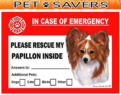 Papillon Pet Savers Emergency Rescue Window Cling Sticker