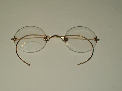 Antique 10K Gold Wire Framed Round Clear Lenes Spectacles Eyeglasses Optical