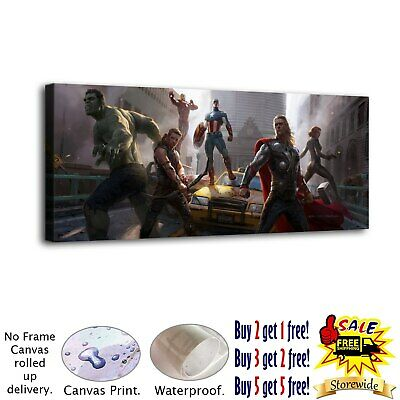 """12""""x30""""Marvel Heroes HD Canvas prints Painting Home Decor Picture Room Wall art"""