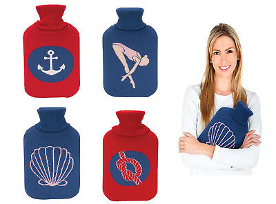 Hot Water Bottle Winter Warm Rubber Bag w knitted Cover Therapy Nautical Themed