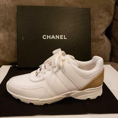 ca47994653e8 CHANEL Classic White Gold Leather Lace Up Tennis Sneakers Kicks Shoes  950
