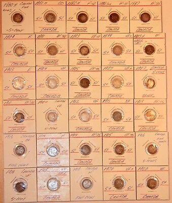 Lot of 30 Canada Early 1800's/1900s  Silver Canadian 5 Cent Coins. #FLDB4004