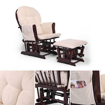 Bow Back Glider Beech Wood Rocking Nursing Relax Chair set with Beige Cushions