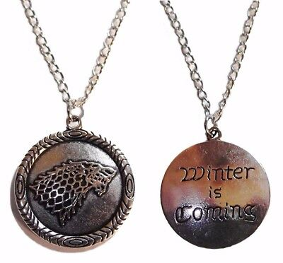 Game of Thrones Stark Wolf Winter is Coming Pendant Necklace