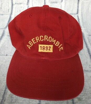 22d407f6360 90s VTG nos ABERCROMBIE   FITCH LOGO Maroon 7 1 4 Fitted Hat Dad Cap