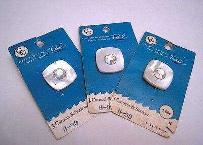 Vintage Rhinestone & Mother Of Pearl Buttons, Lot Of 3