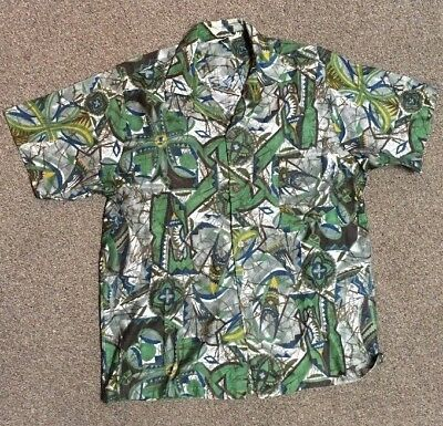 Vintage original Mr Kailua Hawaiian shirt midcentury 60s green MEDIUM EUC