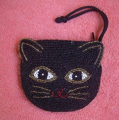 """Beaded * Kitty * CAT zippered coin PURSE seed beads Lined Strap 4-1/2""""  x 3-3/4"""""""