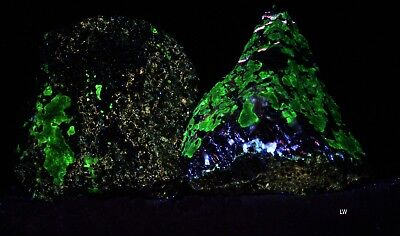 Pair of LW Fluorescent Zincite / Willemite Stones From Sterling, NJ